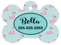 Personalized Flamingo Pond Pet Tag (Spring Time Design 7) with Steelheart Font