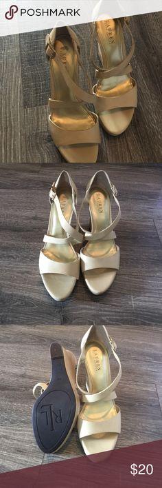 Ralph Lauren Cream Espadrilles Cream and gold sandals Ralph Lauren Shoes Wedges