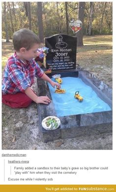 So sad but so beautiful how the baby's big brother plays in the sandbox to play with him I'm really crying! Why is life so sad at times? Sad Love Stories, Touching Stories, Sweet Stories, Cute Stories, Beautiful Stories, Beautiful Things, Human Kindness, Faith In Humanity Restored, Emotion