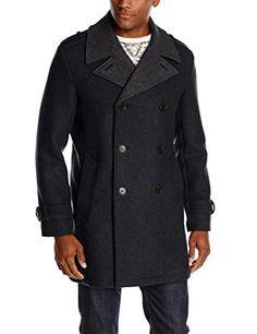 e8d3d56af6d Cole Haan Men s Doubleface Wool Coat with Leather Accents