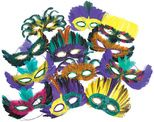 Mardi Gras Party Wear Mardi Gras Feather Mask Assortment Image