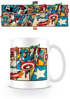 Taza Capitán América en acción viñetas vintage. Marvel Cómics