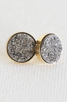 Sparkling Platinum Natural Druzy Stud Earrings