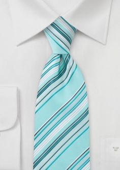 Striped Tie in Light Turquoise  #bowsnties @Harriet Galloway-N-Ties .com