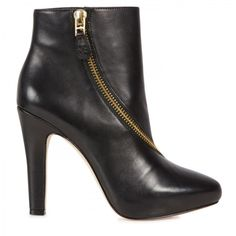 Diane Von Furstenberg Shoes | Diane Von Furstenberg Zipped Leather Ankle Boots in Black - Lyst