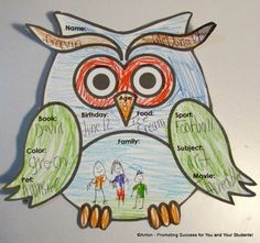 Back to School All About Me Writing Activities with Owl Theme
