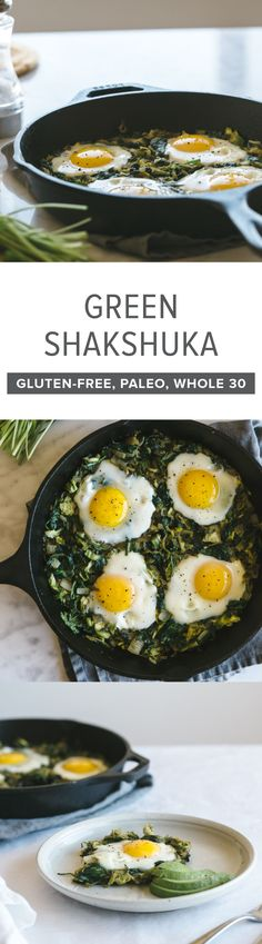 This green shakshuka with shaved brussels sprouts and spinach is a nutrient-dense, healthy breakfast recipe.