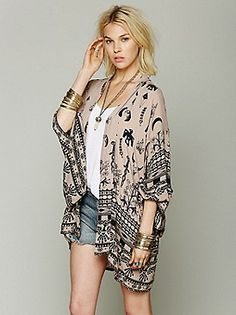 free people bohemian clothing | ... Boho Tribal Kimono at Free People Clothing Boutique on Wanelo