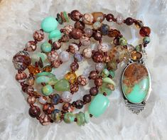 Boulder Chrysoprase, Long Beaded Necklace with Pendant, Exquisite Hand knot jewelry, by KnottedUp by KnottedUpJewelry, $123.37 USD Beaded Necklaces, Beaded Jewelry, Mending A Broken Heart, Jewelry Knots, Jewellery Storage, Boho, Pendant, Jewelry Storage, Beading Jewelry