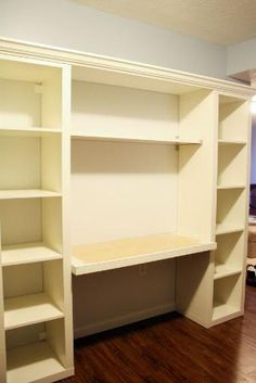 I like this idea of a studio desk built with IKEA shelves, desk wider than bookshelves, and beadboard in back. Ikea Closet, Closet Bedroom, Ikea Hacks, Desk Organization Ikea, Home Studio Desk, Bookshelf Desk, Organizing Bookshelves, Ikea Shelves, Ikea Expedit