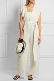Belted stretch jumpsuit