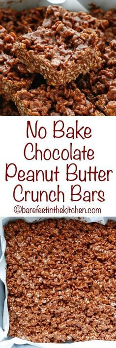 """Like many of our favorite desserts, these No Bake Chocolate Peanut Butter Crunch Bars start with chocolate and peanut butter. Chocolate + Peanut Butter + plenty of crunch = pure happiness in a homemade """"candy Chocolate Crunch, Chocolate Peanuts, Chocolate Peanut Butter, Chocolate Recipes, Baking Chocolate, Chocolate Oatmeal, Chocolate Cake, Candy Recipes, Sweet Recipes"""