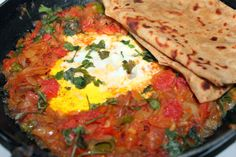 Chapathi and Tomato&Onion curry with egg