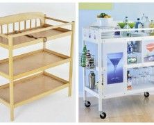 Transform a changing table into a rolling bar!