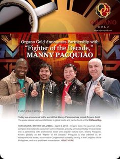 Manny Pacqiao joins Organo Gold  #Ilovecoffee #ThankYouOG #OGCoffee #OrganoGold