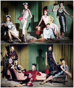 Miu Miu Resort 2013 Campaign by Steven Meisel. Models Caroline Trentini, Hilary Rhoda, Jessica Stam, Karen Elson, Sung Hee, Daphne Groeneveld, and Candice Swanepoel.