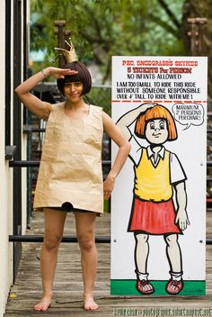 15 book character Halloween costumes for teachers: The Paper Bag Halloween Costume