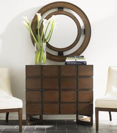11 South Eight Drawer Cassina Hall Chest & Radius Mirror by Lexington Home Brands #homedecor #accessories #mirror #style