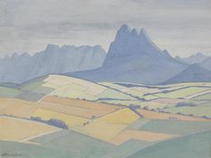 A view in the Stellenbosch Valley, with Simonsberg and the Hottentots Holland beyond is one of the amazing landscape paintings by Jacob Hendrik Pierneef sold at Bonhams Johannesburg Art Gallery, African Paintings, Cityscape Art, South African Artists, Art For Art Sake, Landscape Paintings, Landscapes, Art Auction, Artist At Work