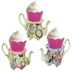Make your Mad Hatter Tea Party celebration extra special with our Alice Mini Teapot Cupcake Stands! They are a fabulous way to serve Cupcakes! Quantity: 6 Cupc