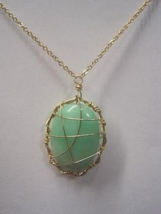 Caroline Pate Caged Green Chrysophase Pendant