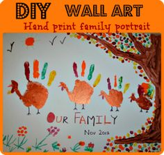 Thanksgiving Art–Handprint Family Portrait  with @blogmemom on @BonbonBreak Kids Activities and Crafts,#crafting,#kids,#activities