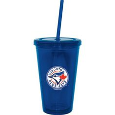 Trendy but chill outfit for the Toronto Blue Jays fan. Pair a Blue Jays tank top and a team purse and jewelry with jeggings, a cute bralette top, and trendy sandals. Toronto Blue Jays, Seattle Mariners, Fan Gear, Boston Bruins, Tumblers, Cups, Traveling, Baseball, Drink