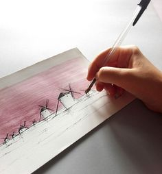 Landscape I paisaje manchego (bic pen + watercolor) I artist: marinaggalietero