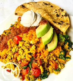 """When I was a child, my mom would make these amazing omelettes that she called """"Spanish omelettes."""" I had to convert this into one of my Plegan breakfast choices. Plant Based Eating, Plant Based Diet, Plant Based Recipes, Chef Recipes, Vegan Recipes, Dinner Recipes, Chickpea Patties, Masala Spice, Vegan Fish"""