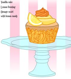 Dandelion's Vanilla Fairytopia Cupcake with lemon frosting and orange swirl with lemon candy