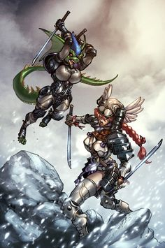 Sengoku Valkyrie Yep Some day these two will Clash. Random Things, Vikings, Comics, Anime, Color, Art, The Vikings, Colour, Art Background
