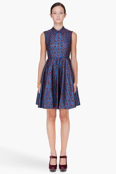 Navy Medallion Lurex Dress - Kenzo. There is nothing about this print that doesn't purr luxury to me.
