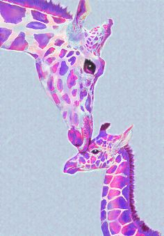 purple giraffes- nursery art