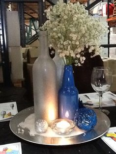 Great recycle wine & beer bottles for winter centerpieces