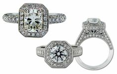 "These two vintage-inspired platinum engagement rings by James Breski are also ready to uniquely express your love story. The pavé diamond engagement ring on the left has a charming filigree undergallery, while the ""Pagoda"" ring on the right features millegrain detail and amazing princess-cut diamond shoulders. With the focal diamond tailored to your taste, you can't go wrong either way!"