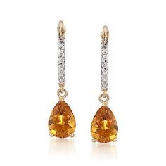 Ross-Simons - .70 ct. t.w. Citrine Drop Earrings With Diamonds in 14kt Yellow Gold - #778327