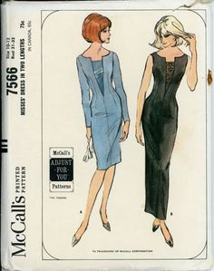 1960s Evening Dress Pattern McCalls 7566 Misses Sheath Dress in Two Lengths…