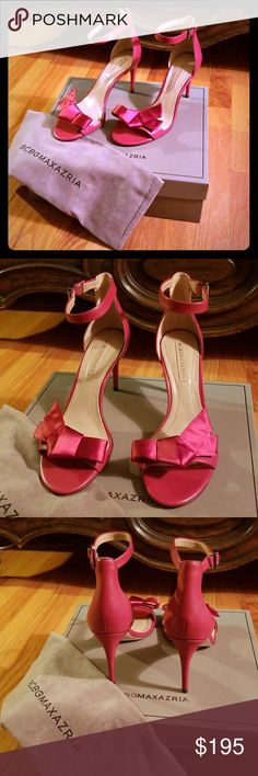 Satin Red Leather BCBG Stilletos and Dust Bag Absolutely stunning red Stilletos! Satin bows. Comes in original packaging and box, with dust bag. 3.5 inch heel BCBGMaxAzria Shoes Heels