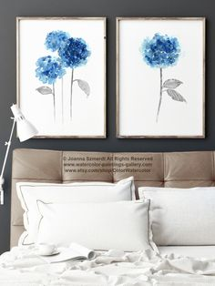 Blue Hydrangea Rustic Wedding Flowers Set of 2 Home Decor, Hydrangeas Giclee Fine Art Print, Flower Painting Housewarming Gift by ColorWatercolor on Etsy https://www.etsy.com/listing/253333076/blue-hydrangea-rustic-wedding-flowers