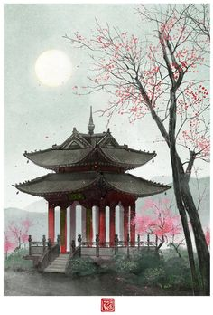 Japanese Temple, Japanese Art, Fantasy Landscape, Landscape Art, Chinese Background, Scenery Paintings, Aesthetic Japan, Japanese Architecture, Anime Scenery