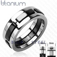 PIN IT TO WIN IT! Dark Master: This Solid Titanium with Multi Onyx Colored Dexter Ring is sure to get attention with a black strips round it.It stands out from the others for its unique and simple design   $59.99  www.buybluesteel.com