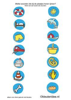 Rijmen met kleuters 3, kleuteridee.nl, free printable. Language Activities, Toddler Activities, I Love School, Math For Kids, Home Schooling, Word Problems, Kids Education, Speech Therapy, Letters