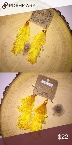 """3 1/4"""" Long Gold Yellow Tassel Earrings 3 1/4"""" long Brand new Jewelry Earrings"""