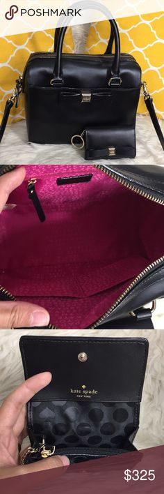 "🌸OFFERS?🌸Kate Spade All Leather Black Set 🌷Authentic🌷Both in great condition.Minimal sign of use.Little wrinkle on leather.All parts intact and functional.Features top handle,removable/adjustable strap, zip top to close,3 pockets inside and magnetic pocket on front,wallet has keyholder,a picture,slot for cards and coins.With a cute bow detail!Great for going out, a fun night, date night or just a go to purse and wallet. Don't be shy to make an offer💕Dimensions:L10"" H8"" Bottom Width5.5""…"