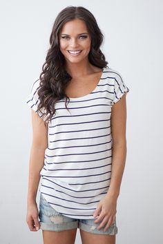 Magnolia Boutique Indianapolis - Short Sleeve Striped Top- Navy/White, $26.00 (http://www.indiefashionboutique.com/short-sleeve-striped-top-navy-white/)