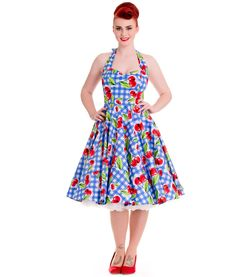 Hell Bunny 50's August Cherry Check Dress
