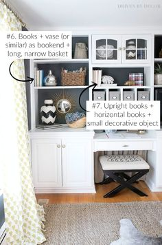 Seven simple formulas that make styling shelves and bookcases SUPER easy! Seven simple formulas that make styling shelves and bookcases SUPER easy! Styling Bookshelves, Bookshelves In Living Room, Decorating Bookshelves, How To Decorate Bookshelves, Diy Bookcases, Bookshelf Design, Billy Regal Hack, Shabby, Living Room Decor