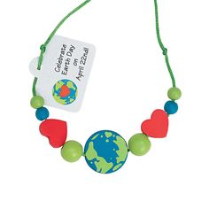 Beaded Earth Day Necklace Craft Kit - OrientalTrading.com