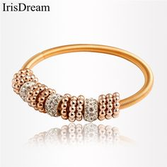 IrisDream New Gold Elastic Spring Bead Charm Bracelets for Women Rhinestone Bohemian Bracelet Bangle Party Jewelry Best Gifts