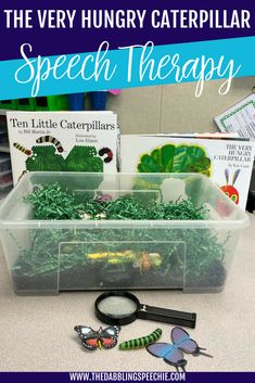 The Very Hungry Caterpillar in Speech Therapy. Ideas and resources for how to use The Very Hungry Caterpillar to cover speech and language goals. Preschool Speech Therapy, Speech Language Therapy, Speech And Language, Preschool Activities, Toddler Speech Activities, Speech Pathology Activities, Aba Therapy Activities, Speech Therapy Autism, Language Activities